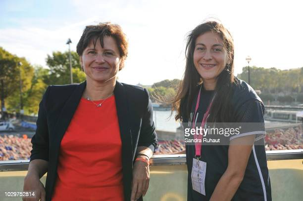 Roxana Maracineanu new french sports minister and Clemence Calvin during the La Parisienne on September 9 2018 in Paris France