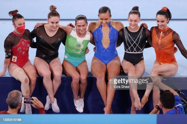 Roxana Popa of Team Spain, Giulia Steingruber of Team Switzerland, Oksana Chusovitina of Team Uzbekistan, Luciana Alvarado of Team Costa Rica, Lihie...