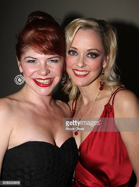 Roxane Barlow and Angie Schworer pose during the opening night party for the world premiere of 'Minsky's' held at Ahmanson Theatre on February 6 2009...