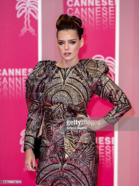 Roxane Mesquida attends the Pink Carpet : Day Four at the 3rd Canneseries on October 12, 2020 in Cannes, France.