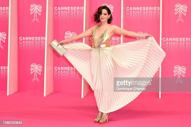 Roxane Mesquida attends the Pink Carpet Day Six at the 3rd Canneseries on October 14 2020 in Cannes France