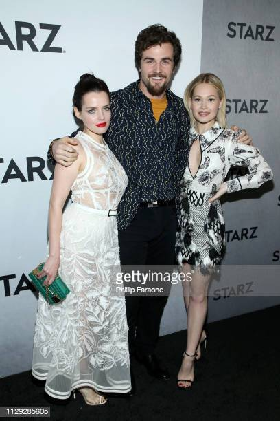 Roxane Mesquida Beau Mirchoff and Kelli Berglund attend the 2019 Winter TCA Tour STARZ Red Carpet Event at 71Above on February 12 2019 in Los Angeles...