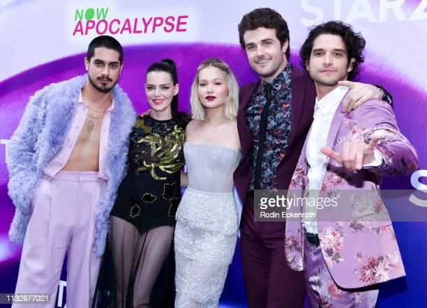 Roxane Mesquida Kelli Berglund Avan Jogia Beau Mirchoff and Tyler Posey attend the new Starz series Now Apocalypse premiere at Hollywood Palladium on...