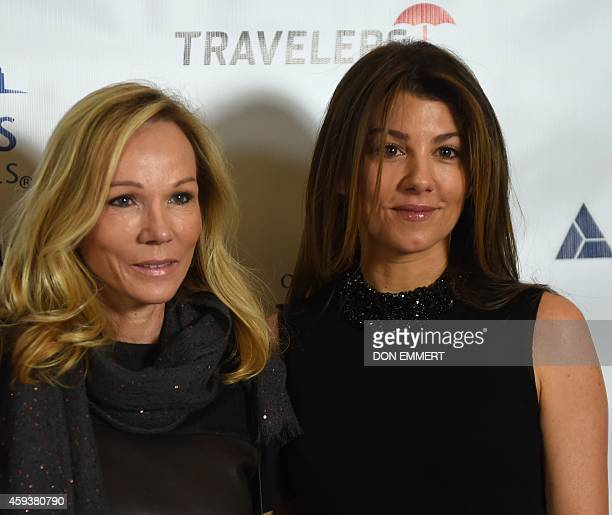 Roxann Taylor and Christina Steinbrenner pose for a photo prior to the CitymealsonWheels 28th annual power lunch November 21 2014 in New York The...