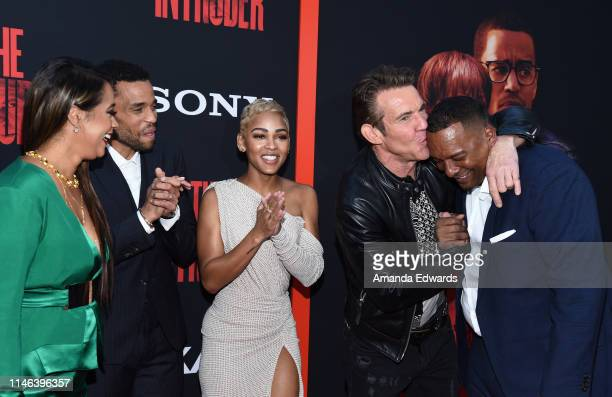Roxanne Avent Michael Ealy Meagan Good Dennis Quaid and Deon Taylor arrive at the Screen Gems premiere of The Intruder at ArcLight Hollywood on May...