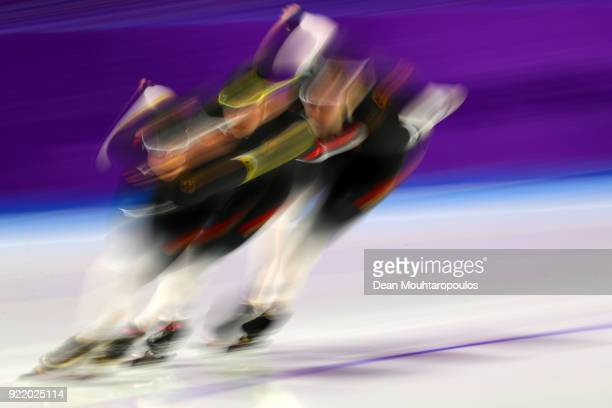 Roxanne Dufter Claudia Pechstein and Gabriele Hirschbichler of Germany compete during the Speed Skating Ladies' Team Pursuit Final C on day 12 of the...