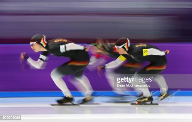Roxanne Dufter Gabriele Hirschbichler and Claudia Pechstein of Germany compete during the Ladies' Team Pursuit Speed Skating Quarterfinals on day 10...