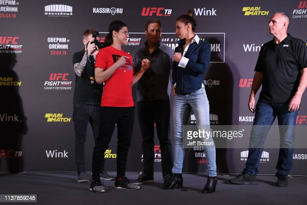 Roxanne Modafferi and Antonina Shevchenko of Kyrgyzstan face off for the media during the UFC Fight Night Event Ultimate Media Day at Hotel Astoria...