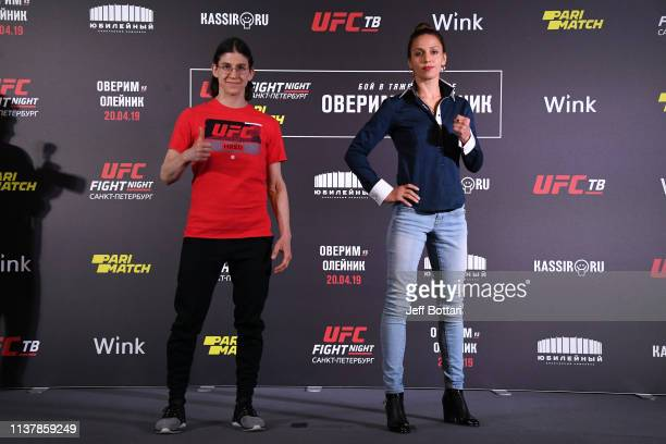 Roxanne Modafferi and Antonina Shevchenko of Kyrgyzstan pose for the media during the UFC Fight Night Event Ultimate Media Day at Hotel Astoria on...