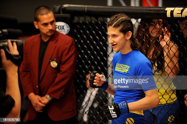 Roxanne Modafferi smiles in her corner prior to her bout against Jessica Rakoczy in their preliminary fight during filming of season eighteen of The...