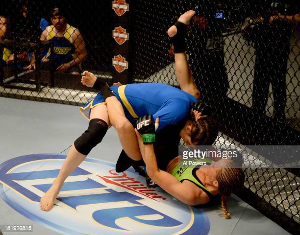 Roxanne Modafferi takes down Jessica Rakoczy in their preliminary fight during filming of season eighteen of The Ultimate Fighter on June 12 2013 in...