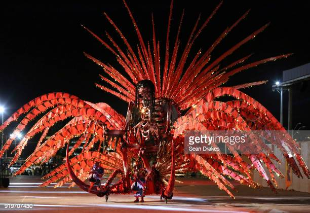 Roxanne Omalo, Queen of Carnival 2018, portrays 'Lilith - Mistress of the Eternally Damned' during the Champs of Steel Plus show as part of Trinidad...