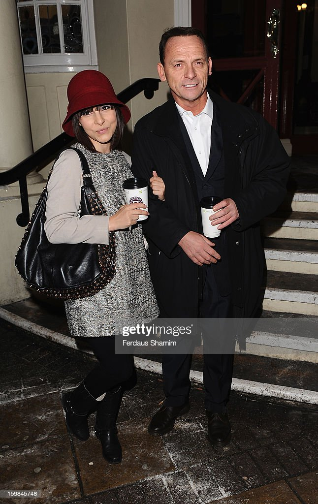 Roxanne Pallet and Perry Fenwick attend the opening night of The Rocky Horror Picture Show at New Wimbledon Theatre on January 21, 2013 in Wimbledon, England.