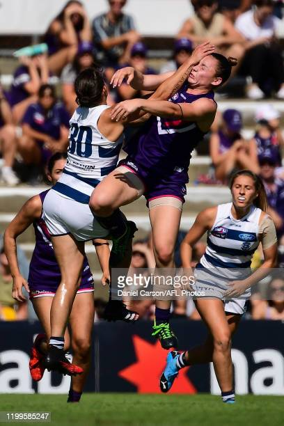 Roxanne Roux of the Dockers collects hand in the face during the 2020 AFLW Round 01 match between the Fremantle Dockers and the Geelong Cats at...