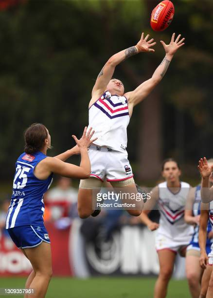 Roxanne Roux of the Dockers marks during the round 9 AFLW match between the North Melbourne Kangaroos and the Fremantle Dockers at Arden Street...