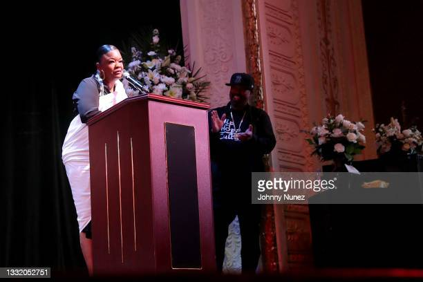 Roxanne Shanté speaks during the celebration of life for Biz Markie at Patchogue Theatre for the Performing Arts on August 02, 2021 in Patchogue, New...