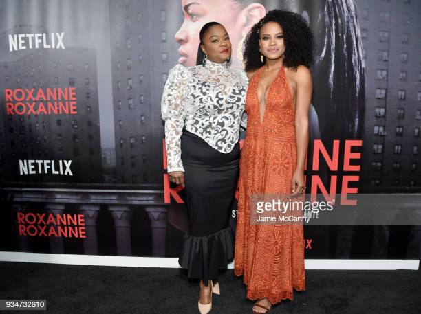 """Roxanne Shante and Chante Adams attend a special screening of the Netflix film """"Roxanne Roxanne"""" at the SVA Theater on March 19, 2018 in New York..."""