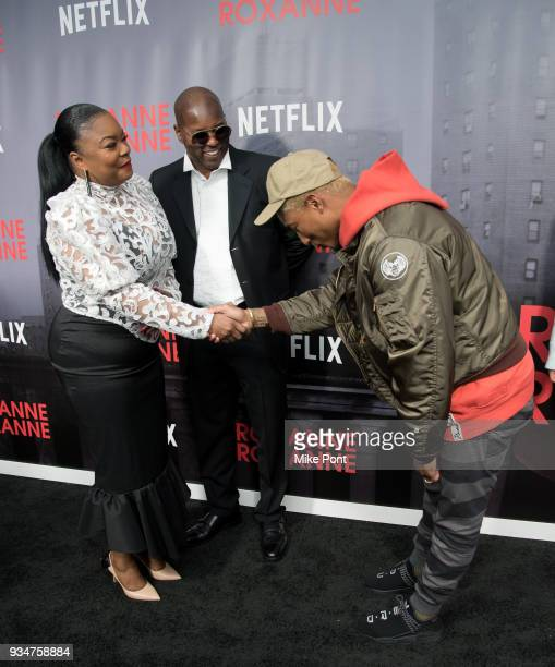Roxanne Shante and Pharrell Williams attend the 'Roxanne Roxanne' New York Premiere at SVA Theater on March 19 2018 in New York City