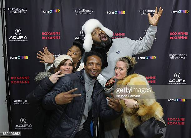 """Roxanne Shante, Elvis Nolasco and Biz Markie attend the """"Roxanne, Roxanne"""" party at the Acura Studio during Sundance Film Festival 2017 on January..."""