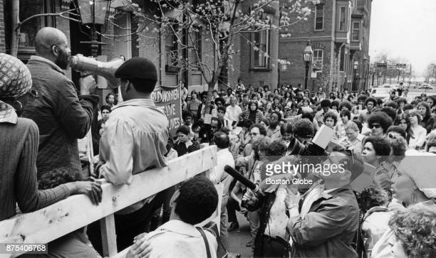 Roxbury Representative Mel King speaks to a crowd protesting murders in Roxbury and Dorchester outside Mayor Kevin White's house in Boston, April 28,...