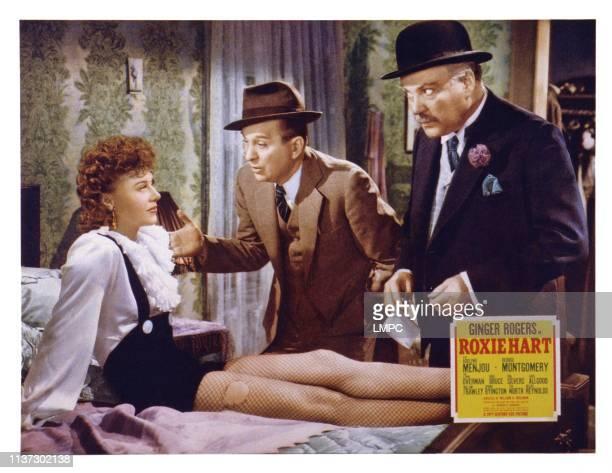 Roxie Hart, US lobbycard, from left: Ginger Rogers, Lynne Overman, Nigel Bruce, 1942.