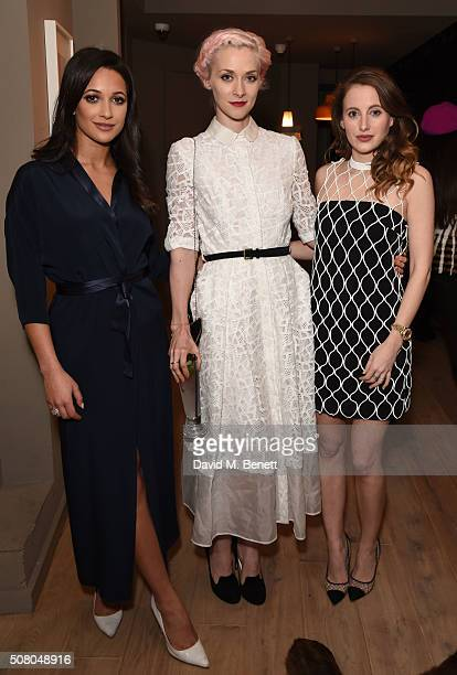 Roxie Nafousi Portia Freeman and Rosie Fortescue attend the Richard Braqo VIP dinner at 155 Bar and Kitchen on February 2 2016 in London England