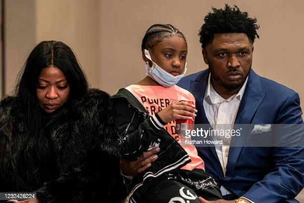 Roxie Washington and Gianna Floyd, daughter of George Floyd, look on during a news conference following the verdict in the Derek Chauvin trial on...