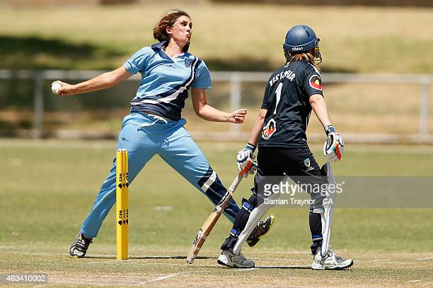 Roxsanne Van Veen bowls in the Womens final against Victoria during the 20415 Imparja Cup on February 14 2015 in Alice Springs Australia
