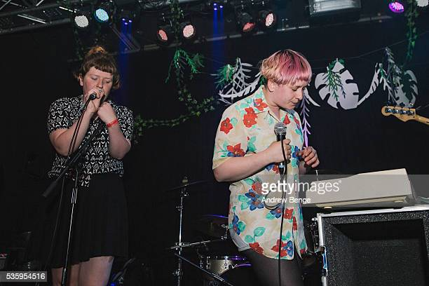 Roxy Brennan and Kate Stonestreet of Joanna Gruesome perform on stage during This Must Be The Place Festival at Belgrave Music Hall on May 30 2016 in...