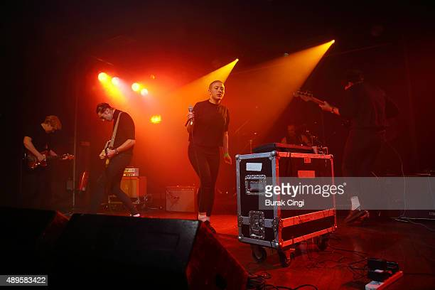 Roxy Brennan George Nicholls and Kate Stonestreet of Joanna Gruesome perform live on stage at Scala on September 22 2015 in London England