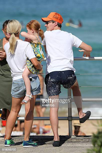 Roxy Jacenko and husband Oliver Curtis are seen with daughter Pixie on April 2 2016 in Sydney Australia