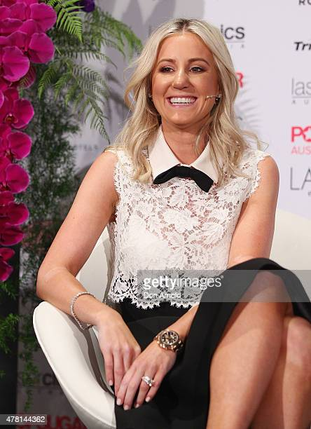 Roxy Jacenko is interviewed by Alison Rice at the 'In Conversation With Roxy Jacenko' at the InterContinental Hotel inDouble Bay on June 23 2015 in...