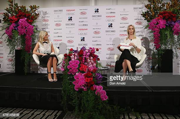 Roxy Jacenko is interviewed by Alison Rice at the 'In Conversation With Roxy Jacenko' at the InterContinental Hotel in Double Bay on June 23 2015 in...