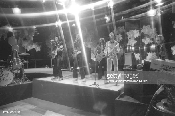 Roxy Music perform on BBC TV show 'Top Of The Pops', London, United Kingdom, 14th March 1973. L-R Paul Thompson , Bryan Ferry , Phil Manzanera , Sal...