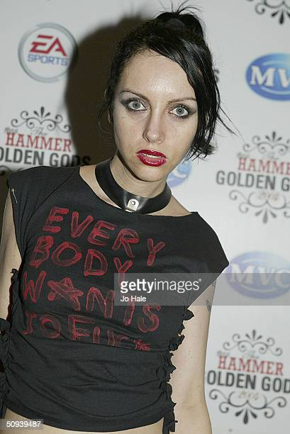 Roxy Saint arrive at The Metal Hammer Golden Gods Awards at Ocean on June 7 2004 in London The second annual tongueincheek awards ceremony is...