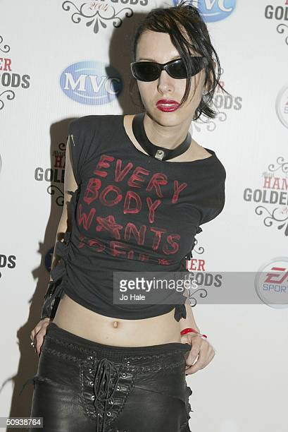 Roxy Saint arrives at The Metal Hammer Golden Gods Awards at Ocean on June 7 2004 in London The second annual tongueincheek awards ceremony is...