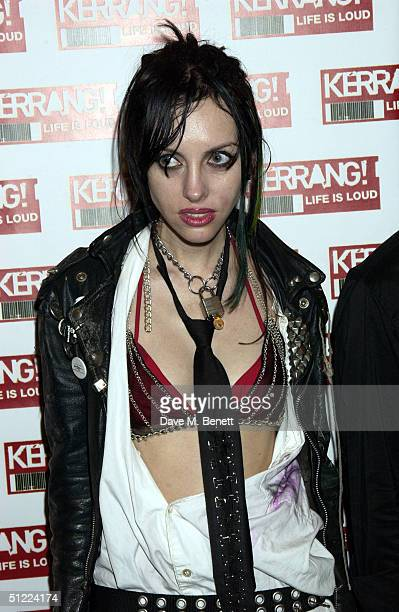 Roxy Saint poses in the media room at the 11th annual Kerrang Awards 2004 at The Brewery East London on August 26 2004 in London The music awards...