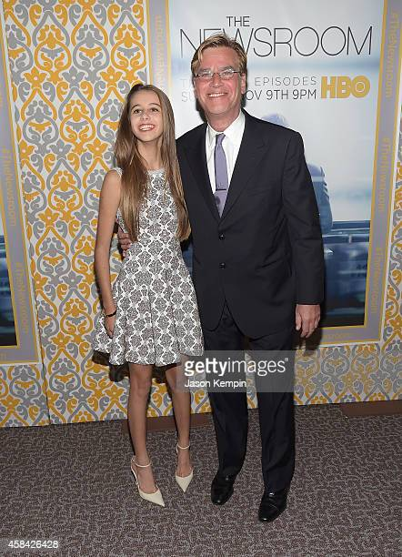 """Roxy Sorkin and Aaron Sorkin attend the premiere of HBO's """"Newsroom"""" Season 3 at Directors Guild Of America on November 4, 2014 in Los Angeles,..."""