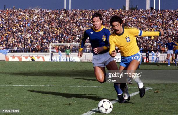 Roy Andersson and Rivelino during the match between Brazil and Sweden played at Mar Del Plata Argentina on June 3rd 1978