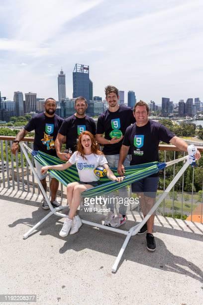 Roy Asotasi, Matt Hodgson, Olivia Vivian, Greg Hire and Brett Kimmorley pose after 2020 NRL Nines Perth Draw Announcement at Kings Park on December...