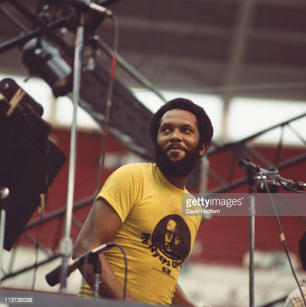 Roy Ayers US funk soul and jazz composer and vibraphone player during a live concert performance at the Kool Jazz Festival at the Riverfront Stadium...