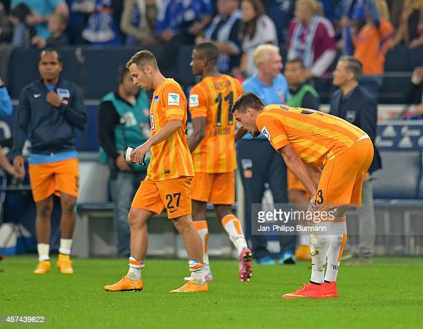 Roy Beerens and Sandro Wagner of Hertha BSC during the game between FC Schalke 04 and Hertha BSC on october 18 2014 in Gelsenkirchen Germany