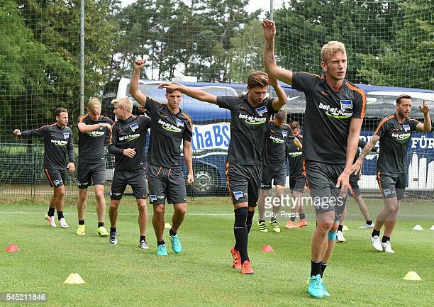 Roy Beerens Arne Maier Per Skjelbred Niklas Stark Valentin Stocker and Fabian Lustenberger during the training of Hertha BSC on july 6 2016 in Bad...