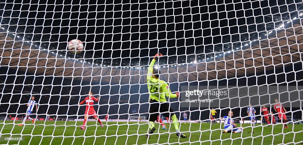 Roy Beerens of Berlin scores the winning goal during the Bundesliga match between Hertha BSC and Vfb Stuttgart at Olympiastadion on October 3, 2014 in Berlin, Germany.