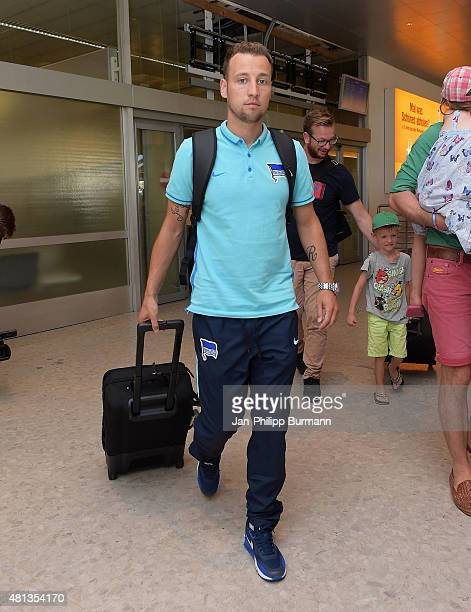 Roy Beerens of Hertha BSC during their arrival at Salzburg Airport ahead of the training camp in Schladming on July 19 2015 in Salzburg Austria