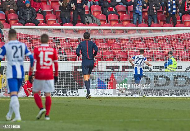 Roy Beerens of Hertha BSC scores the 0:2 during the game between FSV Mainz and Hertha BSC on february 7, 2015 in Mainz, Germany.