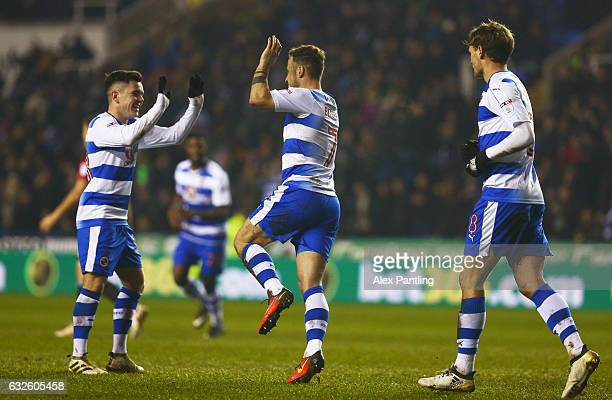 Roy Beerens of Reading celebrates with team mate Liam Kelly as he scores their first goal during the Sky Bet Championship match between Reading and...