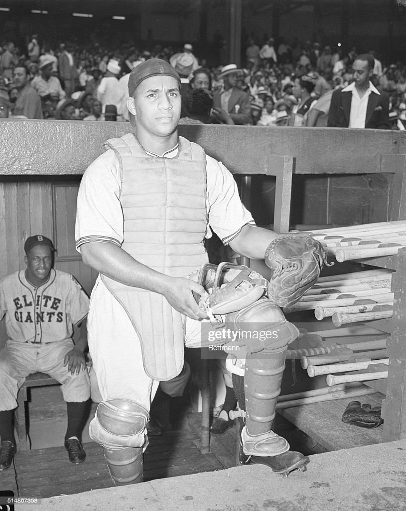 Roy Campanella in catcher's gear, when he was playing for the Baltimore Elite Giants of the Negro National League.