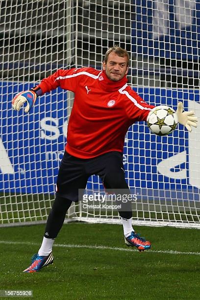 Roy Carrol of Olympiacos Piraeus attends the training session at Veltins Arena ahead of the UEFA Champions League group B match between FC Schalke 04...