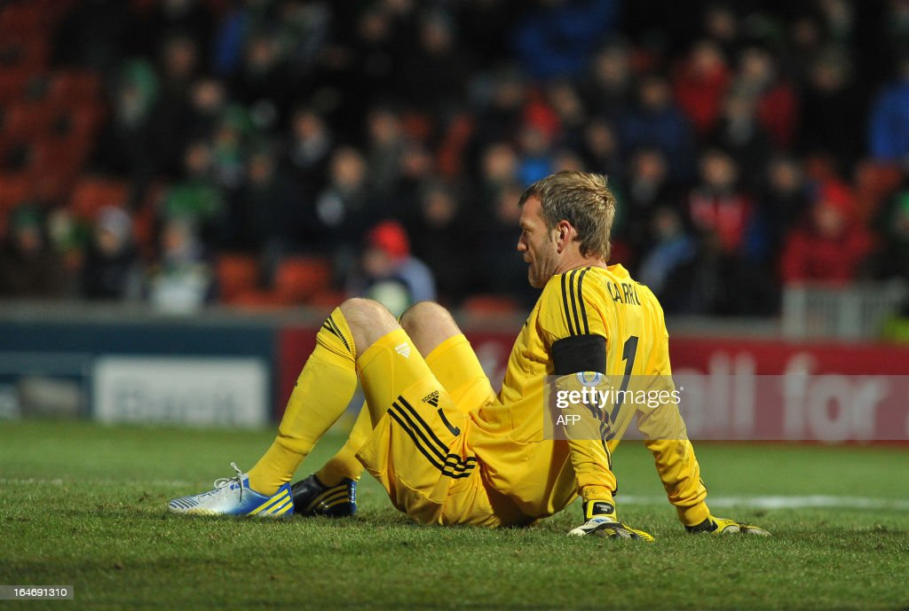Roy Carroll goalkeeper of Northern Ireland reacts during the FIFA 2014 World Cup qualifying football match between Northern Ireland and Israel at Windsor Park in Belfast, Northern Ireland on March 26, 2013. Israel won the game 2-0. AFP PHOTO/MICHAEL COOPER